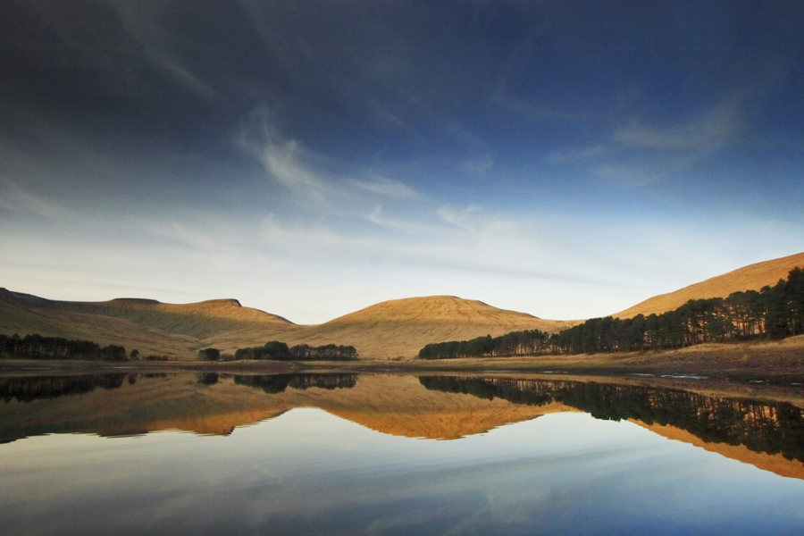 Pen Y Fan Brecon Beacons, Reflected In The Upper Neuadd Reservoir