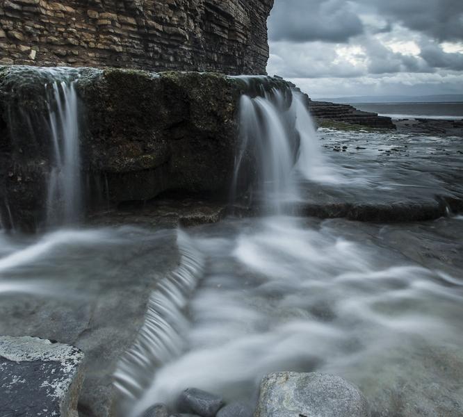 Monknash Beach Waterfalls, Heritage Coastline