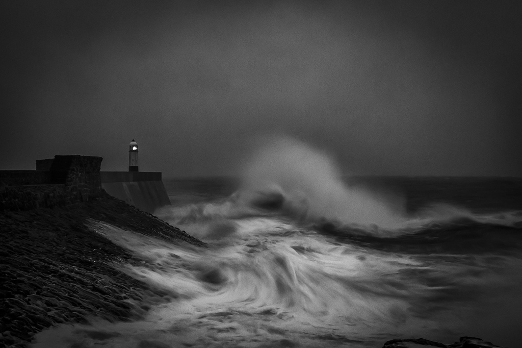 Porthcawl Lighthouse In A Storm