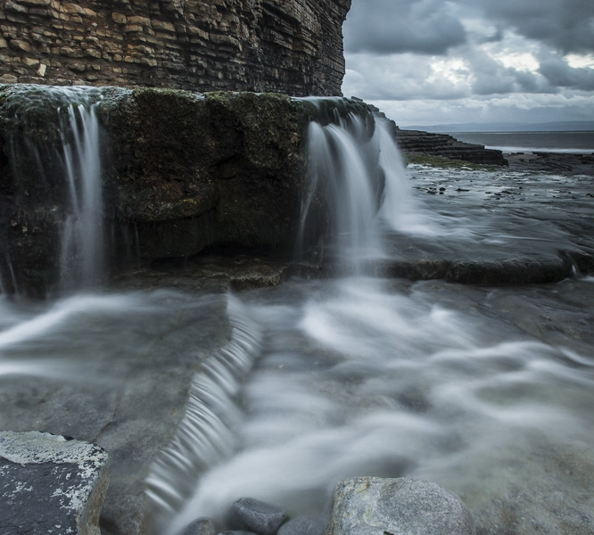 Monknash Beach Waterfalls, Heritage Coastline